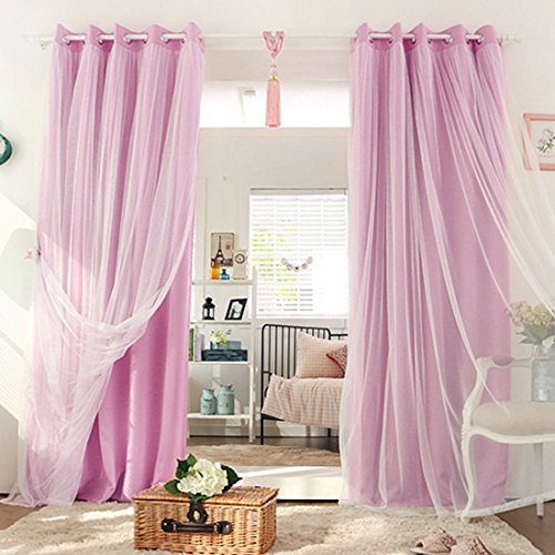 Didihou Voile Mix Match Blackout Curtain Elegant Panel Double Layer Darkening Thermal Insulated Window Treatment Grommet Drapes for Living Room Girls Bedroom, 1 Panel (52W x 84L Inch, -
