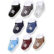 Hudson Baby Basic Socks, 8 Pack, Boy Athletic, 0-6 Months