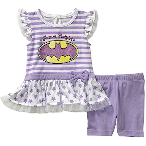 [DC Comics Batgirl Top Tee and Shorts Outfit Set Baby Girls' 24 Months Purple] (Baby Batgirl Outfit)