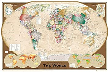 Amazon world map winkel tripel projection style decorative world map winkel tripel projection style decorative educational poster print 24x36 unframed poster gumiabroncs Image collections
