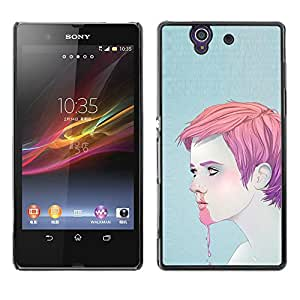 Shell-Star Art & Design plastique dur Coque de protection rigide pour Cas Case pour Sony Xperia Z / L36H / C6602 / C6603 / C6606 / C6616 ( Man Boy Pink Nose Bleeding Ice Cream Face )