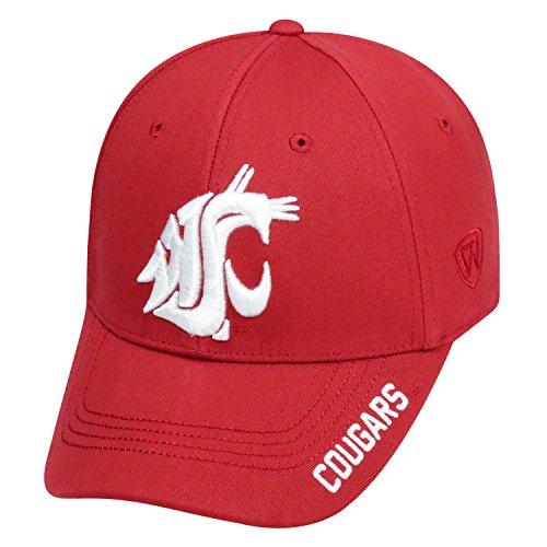 Washington State Cougars Fitted Cap - Top of the World NCAA-Premium Collection-One-Fit-Memory Fit-Hat Cap-Washington State Cougars