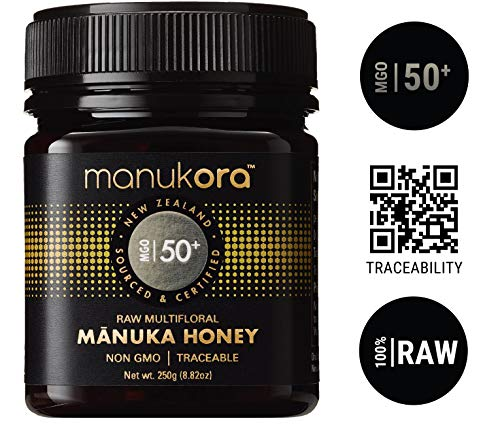 Manukora MGO 50+ Multifloral Raw Mānuka Honey (250g/8.8oz) Authentic Non-GMO New Zealand Honey, MGO Certified, Traceable from Hive to Hand