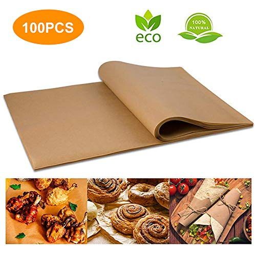 Bakinday 100pcs Unbleached Parchment Paper, Precut Baking Liners Sheets Paper, 12'' x 16'', Non-stick, Water Proof, Oil Proof, Heat resistant, for Baking, Cooking, Air Fryers, Oven, Steam, Pans