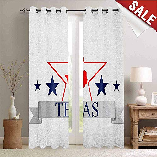 Texas Star Outdoor Gromets Curtain For Patio Separate Heating , San Antonio Dallas Houston Austin Map with Stars Pattern USA Top Darkening Curtains, Navy Blue Vermilion Pale Grey, W108 x L96 Inches (In Stores Houston Furniture Outdoor)