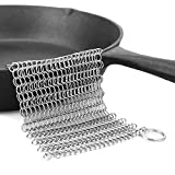 """LauKingdom 8""""x6"""" Cast Iron Cleaner, Stainless Steel Cast Iron Cleaner 316L Chainmail Scrubber for Cast Iron Pan, Anti-rust Cast Iron Scraper, Square (silver01)"""