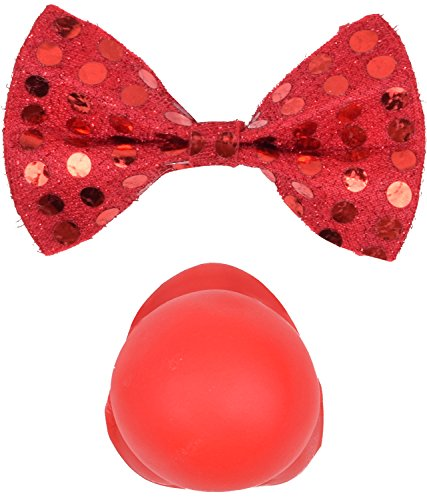 Costume Bow Tie and Red Clown Nose for Halloween Party Accessory for Men Women (Quickly Clown Costume)