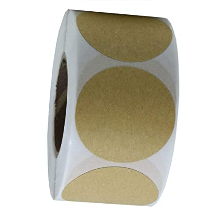 Dusenly 1Inch 25cm Round Kraft Paper Sticker Labels Packaging Seals Crafts Wedding Gift Decoration Packaging,500 Labels on a Roll