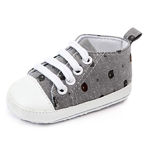 Isbasic Infant Baby Girls Canvas High Top Sneaker Toddler Anti-Slip Soft Sloe Leisure Cartoon Pattern Lovely Candy Shoes (6-12 Months Infant, Bear-Grey)