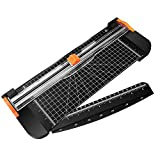 MoKo Paper Cutter, A4 Paper Trimmer Portable Guillotine Paper Trimmer Scrapbooking Tool with Automatic Security Safeguard and Side Ruler for Office Paper, Coupon, Label and Cardstock - Black