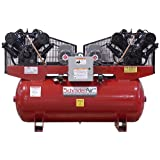Schrader SA4751201 Duplex 7.5 HP 120-Gallon Horizontal Tank 1-Phase 208/230-volt Air Compressor