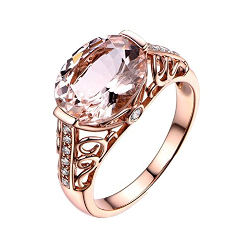 Rings Womens Girls Romance Gift AfterSo Wedding Engagement Simulated Gemstone Ring Rose Gold (7, Rose Gold - 1)