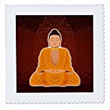 3dRose Sven Herkenrath Buddha - Buddha Buddhism Symbol with Red Background and Gold Rain - 16x16 inch quilt square (qs_280259_6)