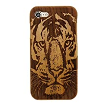 """Iphone 7 Raw Wood Case,Iphone7 Case,Fusicase fashion style New Real Wooden Bamboo Cherry Back Pattern Carve Case Cover For Iphone 7 4.7""""(Tiger)"""