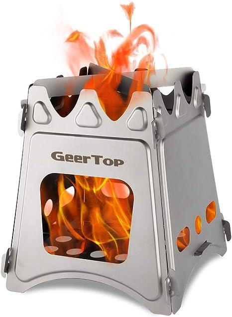 Geertop Estufa de camping portátil de acero inoxidable de combustión de leña para supervivencia al aire libre cocinar senderismo caza
