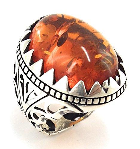 925 Sterling Silver Turkish Handmade Ottoman Created Amber Stone Men Luxury Ring (13.5)
