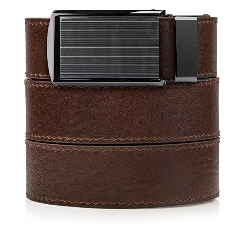 - SlideBelts Top Grain Leather Ratchet Belt (Brown with Pinstripe Buckle, Up to 48