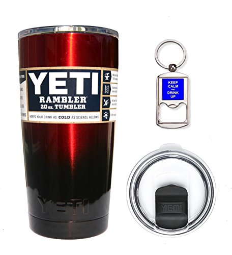 YETI Coolers 20 Ounce (20oz) (20 oz) Custom Rambler Tumbler Cup Mug Bundle with New Magslider Spill Proof Lid (Red Black Ombre)