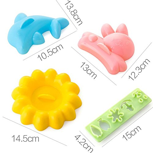 XABegin 4 sets Plastic Egg Sushi Rice Mold Mould Decorating Fondant Cake Tool by XABegin (Image #1)