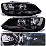 For VW Volkswagen Jetta MK6 MKVI VAG Euro Front Bumper Headlight Head Lamp Black Housing Clear Lens Reflector Upgrade Assembly Pair Left Right