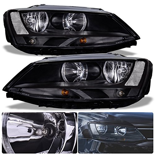For VW Volkswagen Jetta MK6 MKVI VAG Euro Front Bumper Headlight Head Lamp Black Housing Clear Lens Reflector Upgrade Assembly Pair Left Right by AJP Distributors