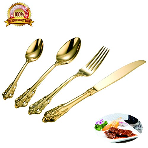 4 Pieces-Gold Flatware Silverware Cutlery Set 18/10 Heavy Duty Stainless Steel Flatware 1 Services Mirror Polished Including Knife / Fork / Spoon Flatware Dishwasher Safety ()