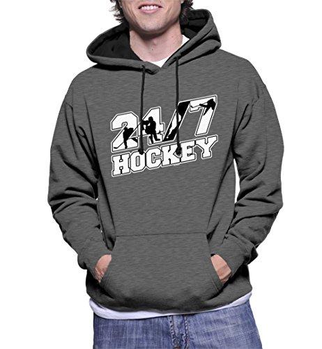 HAASE UNLIMITED Men's 24/7 Hockey Two Tone Hoodie Sweatshirt (Charcoal/Black Strings, X-Large)]()