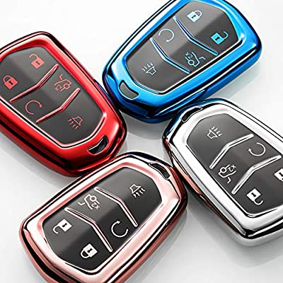 121Fruit Way Key Fob Cover for Cadillac, Key Fob Case for 2015-2020 Cadillac Escalade CTS SRX XT5 ATS STS CT6 5-Buttons Premium Soft TPU 360 Degree Full Protection Red: Automotive
