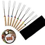 Moonvvin Extending Marshmallow Roasting Sticks-Set of 8-32 Inch, Telescoping STAINLESS STEEL Smores Skewers for Hot Dog Forks, Campfire,fire pit,Camping - SAFE FOR KIDS– FREE Bag