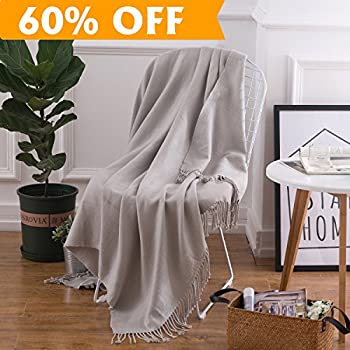 Lightweight Throw Blanket Grey Soft Plush Microfiber Sofa Couch Knit  Blankets With Fringe
