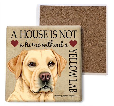 Yellow Lab Absorbent Stone Coasters, Set of 4 (SJT24777)
