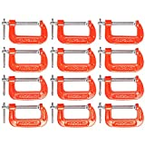MAXPOWER 12 Piece C-Clamp Set. 12 Pieces 2-Inch C Clamps. 2-Inch Jaw Opening, 1-3/16-Inch Throat Depth
