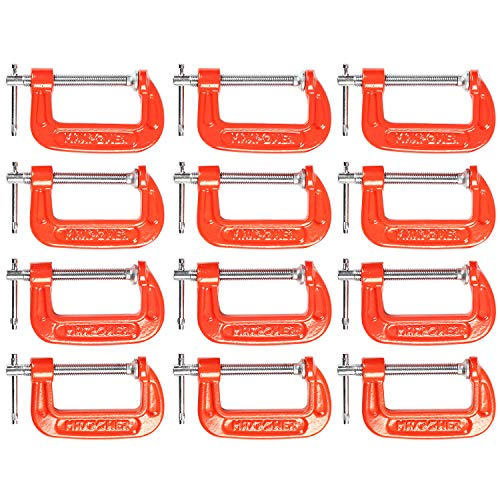 MAXPOWER 12 Piece C-Clamp Set. 12 Pieces 2-Inch C Clamps. 2-Inch Jaw Opening, 1-3/16-Inch Throat Depth ()