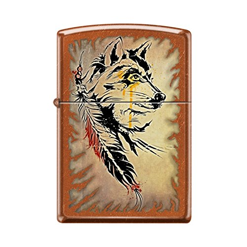 Zippo Lighter - Wolf with Feathers (Feather Zippo Lighter)