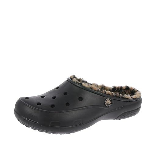 Zapatillas De Leopardo Forrado Negro/Oro De Crocs Freesail: Amazon.es: Zapatos y complementos