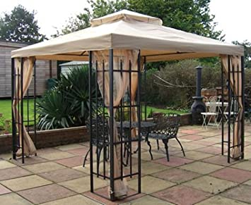 BUCKINGHAM METAL FRAMED LUXURY GAZEBO BEIGE CANOPY 3m X Includes Mosquito Net Side Curtains