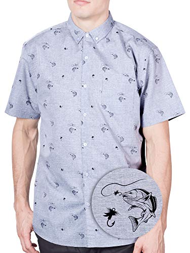 Visive Hawaiian Shirt Short Sleeve Button Down Up Shirts for Mens Grey Fish,Small