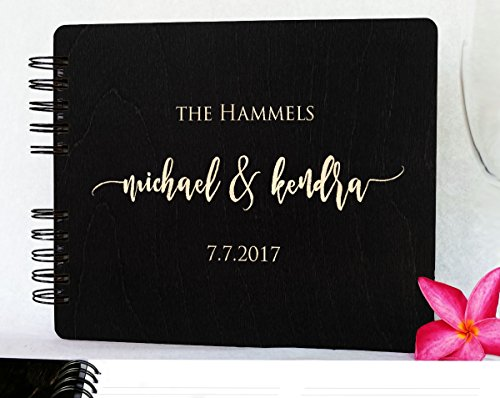 Wooden Wedding Guest Book Custom Made in USA (11''x8.5'', Black Stain) Wood Rustic Vintage Personalized 50th Anniversary Bridal Shower Guestbook by Weddings-by-StockingFactory