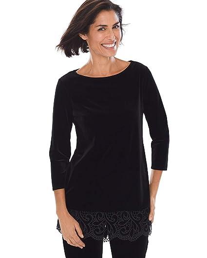 486dbedc6b9 Chico's Women's Travelers Collection Velvet Lace Top Size 12/14 L (2) Black
