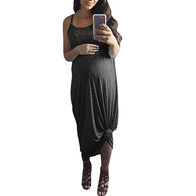 8a50db2614e BSGSH Women s Summer Casual Maternity Dress Pregnancy Plain Flowy Loose  Cami Maxi Dresses(S