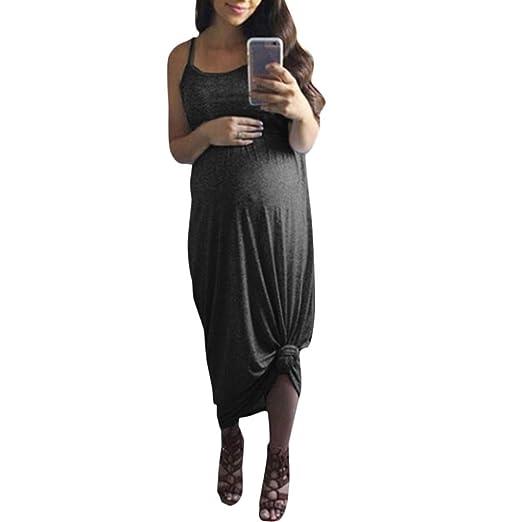 733c04595850f Women's Maternity Spaghetti Strap Dress Sleeveless Solid Slim Fit Maxi Long  Dresses (S, Dark