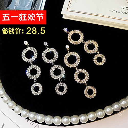 925 needles diamond circular necklace pendant earrings earrings earrings women girls elegant exaggerated personality long paragraph earrings