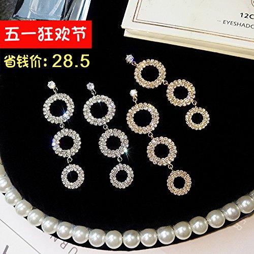 925 needles diamond circular necklace pendant earrings earrings earrings women girls elegant exaggerated personality long paragraph earrings ()
