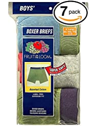 Fruit of the Loom Boys' Boxer Brief (Pack of 7) (Medium, Fabric Covered Waistband (Comfortsoft))