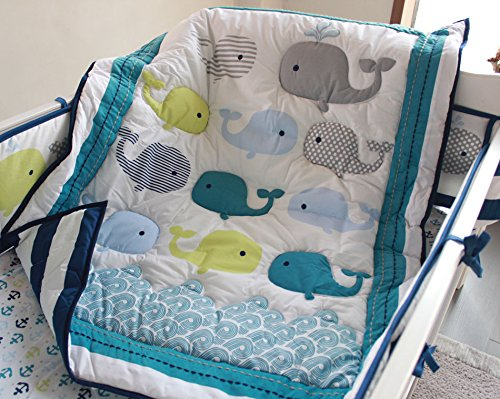 NAUGHTYBOSS Baby Bedding Set Cotton 3D Embroidery Ocean Whale Quilt Bumper Mattress Cover Blanket 8 Pieces Ocean Blue by NAUGHTYBOSS (Image #1)
