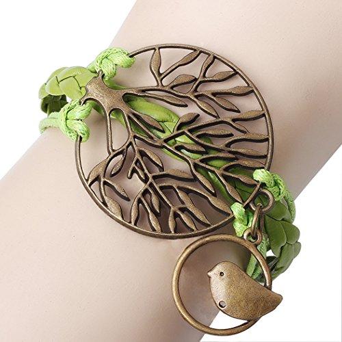 Price comparison product image Red Dandelion Tree of Life Birds Braided Adjustable Wristband Unisex Bracelet