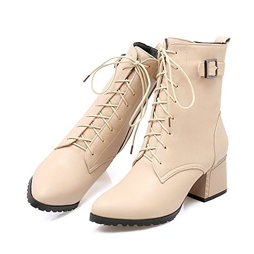 AllhqFashion Womens Kitten Heels Solid Pointed Closed Toe Lace Up Boots, Beige, 35