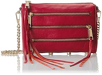 Rebecca Minkoff Mini 5-Zip Convertible Cross-Body Handbag,Fuchsia,One Size