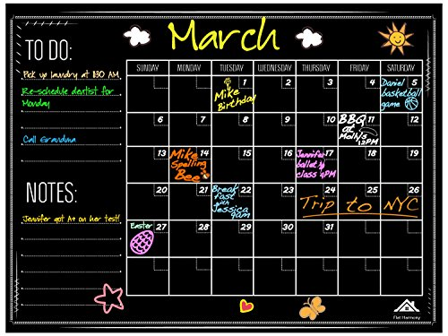 Large Chalkboard Wall Calendar Planner by Flat Harmony - Weekly and Monthly Organizer - 23'' x 18'' - For Office, Kitchen and Refrigerator Erasable and Durable Sticker Decal