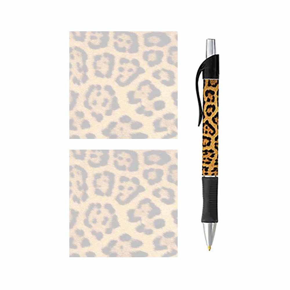 Pen and Sticky Note Pads - Stationery Gift Set - Wildlife Theme Design - Paper Memo Office Business School Supplies (Leopard Animal Print) by Stationery Creations
